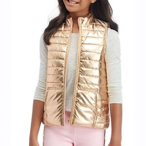 Old Navy Girls Gold Metallic Puffer Vest L 10-12!